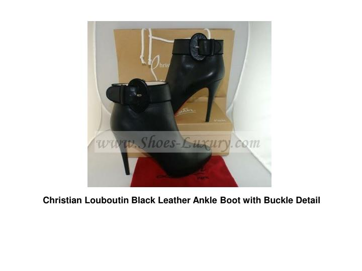 Christian Louboutin Black Leather Ankle Boot with Buckle Detail