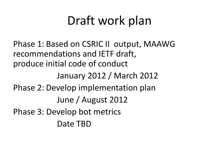 Draft work plan