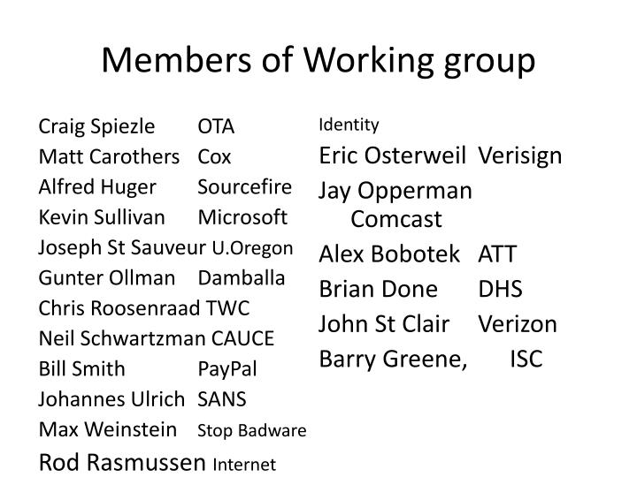 Members of Working group