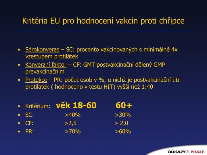 Kritéria EU pro hodnocení vakcín proti chřipce