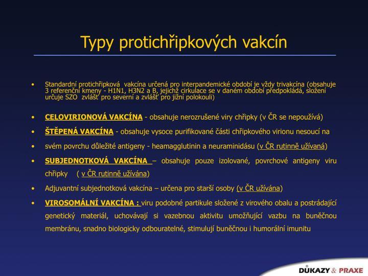 Typy protichřipkových vakcín
