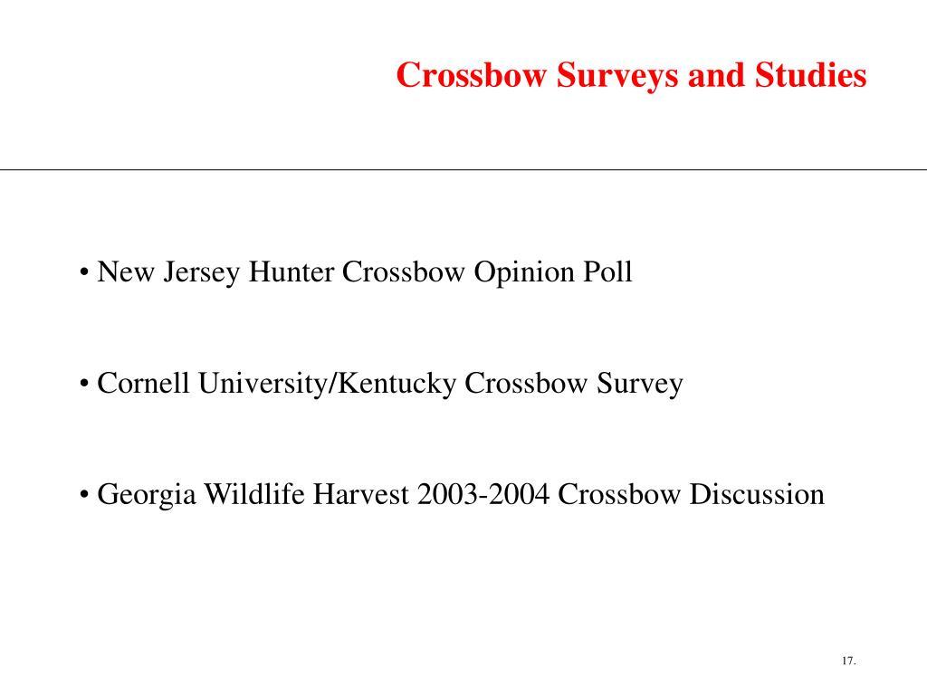 Crossbow Surveys and Studies
