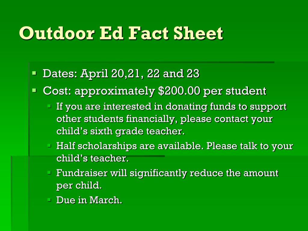 Outdoor Ed Fact Sheet