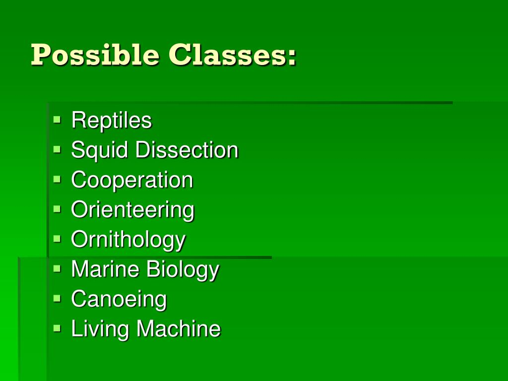 Possible Classes: