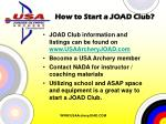 how to start a joad club