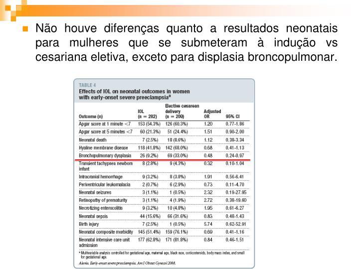 Não houve diferenças quanto a resultados neonatais para mulheres que se submeteram à indução vs cesariana eletiva, exceto para displasia broncopulmonar.
