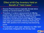 effect of 60 day inventory hold on benefit of yield cases