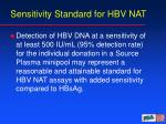 sensitivity standard for hbv nat