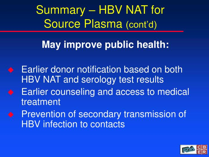Summary – HBV NAT for Source Plasma