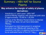 summary hbv nat for source plasma