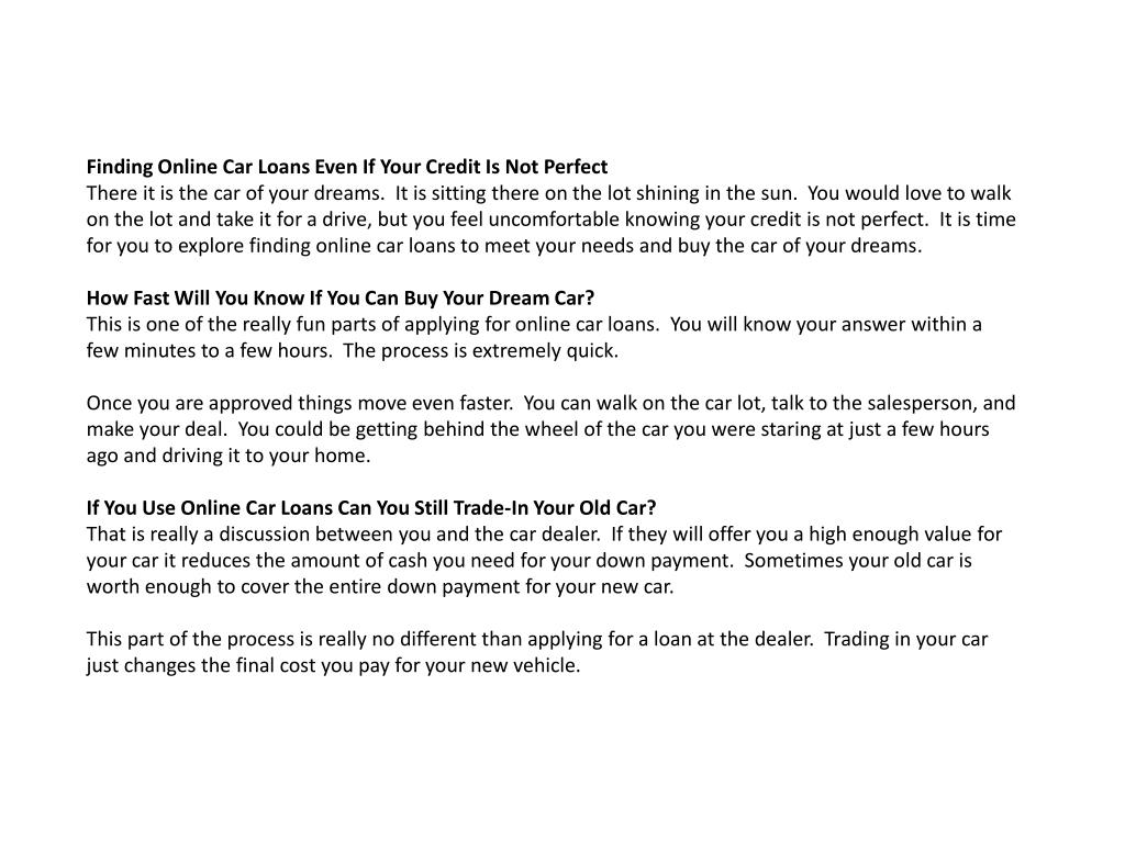 Finding Online Car Loans Even If Your Credit Is Not Perfect