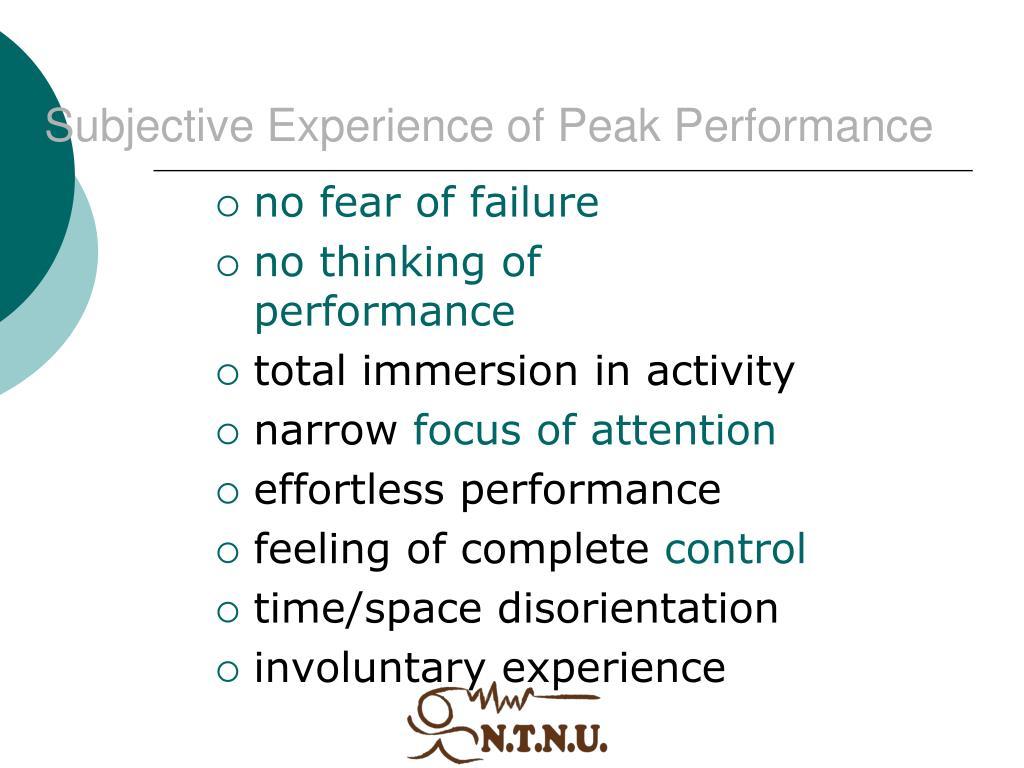 Subjective Experience of Peak Performance
