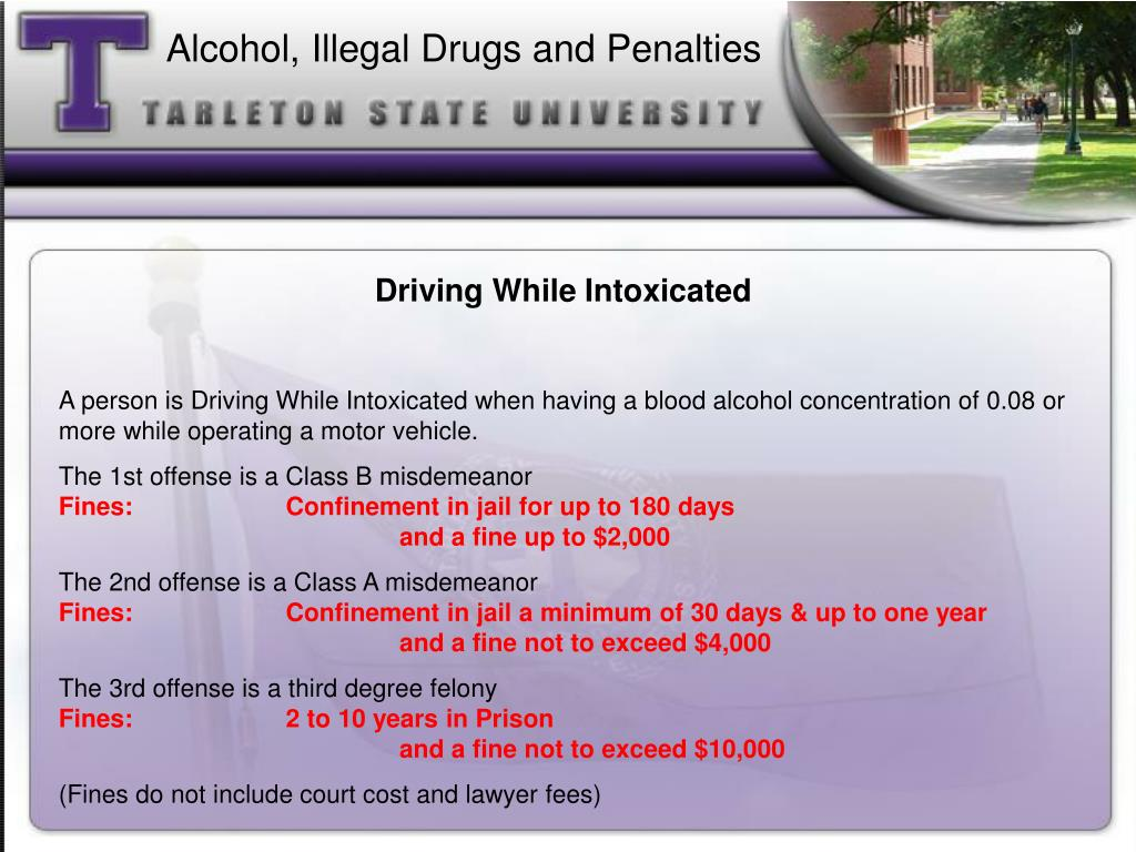 Alcohol, Illegal Drugs and Penalties