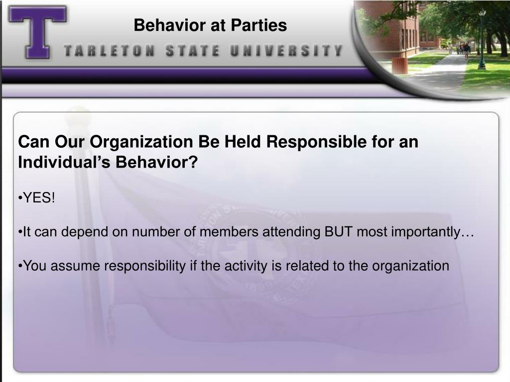 Behavior at Parties
