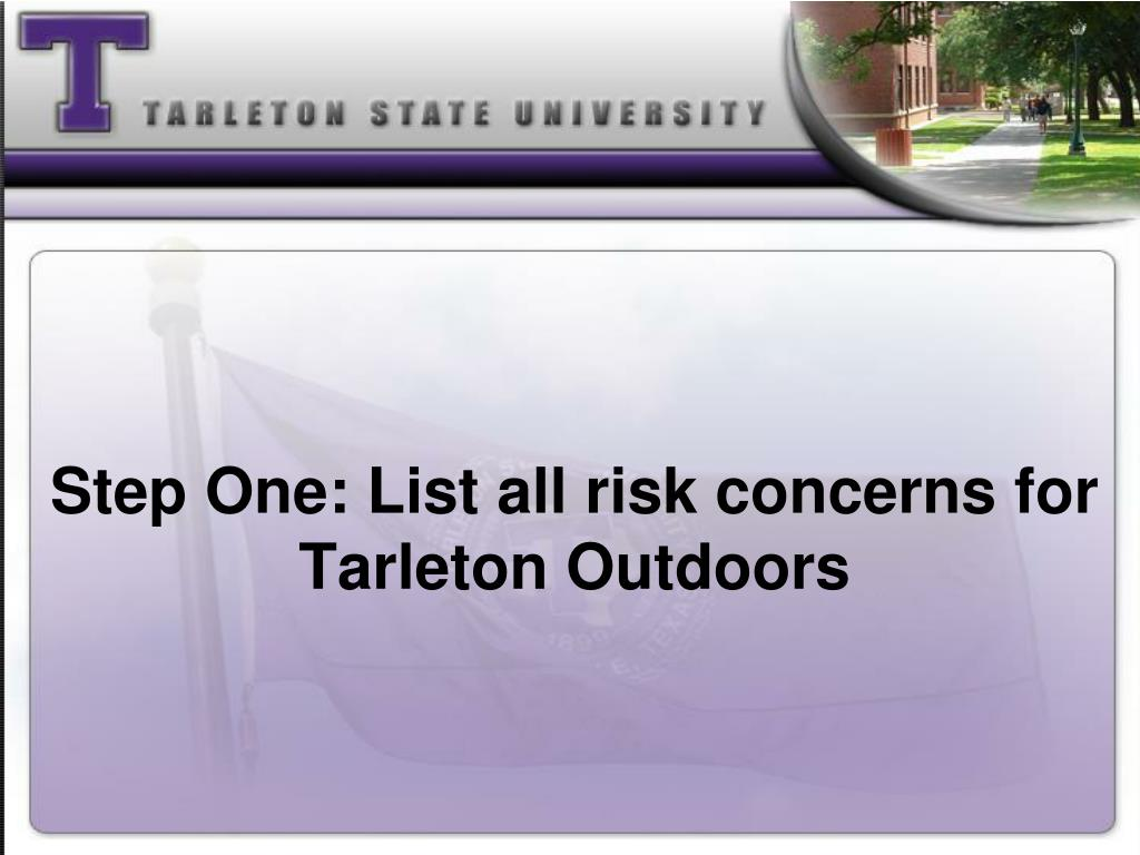 Step One: List all risk concerns for Tarleton Outdoors