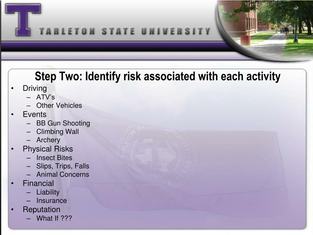 Step Two: Identify risk associated with each activity