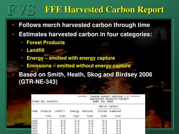 FFE Harvested Carbon Report