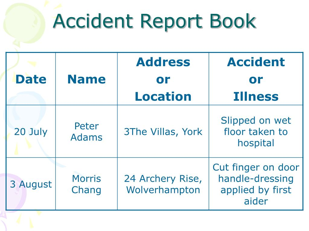 Accident Report Book