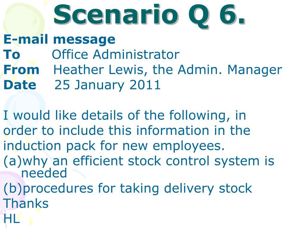 Scenario Q 6.