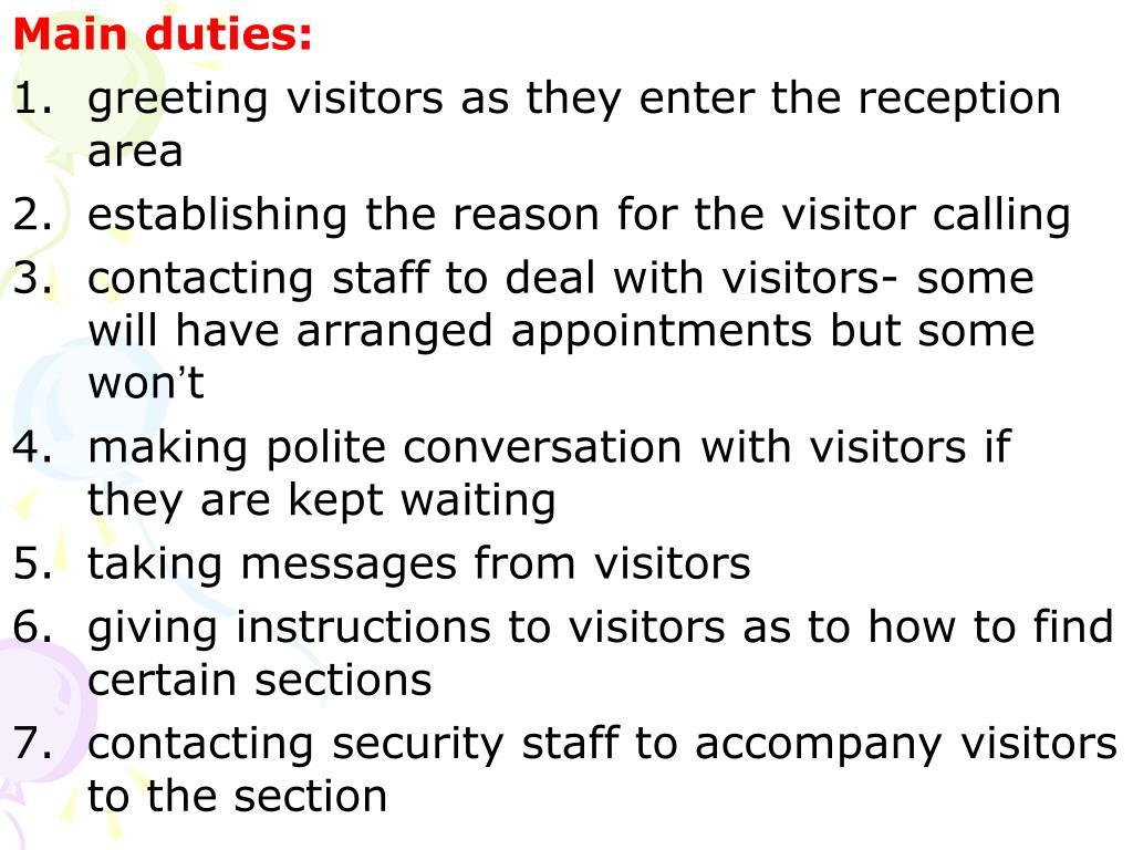Main duties: