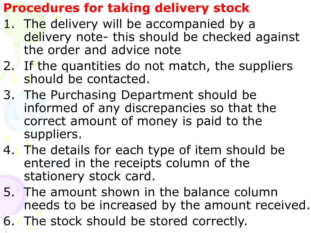 Procedures for taking delivery stock