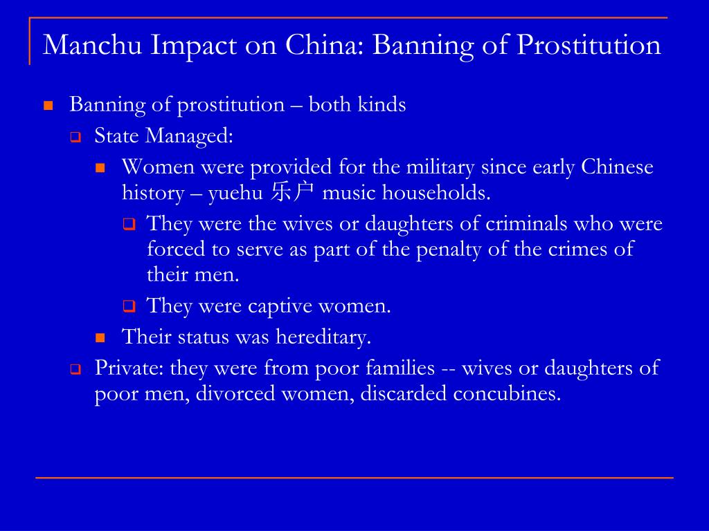 Manchu Impact on China: Banning of Prostitution