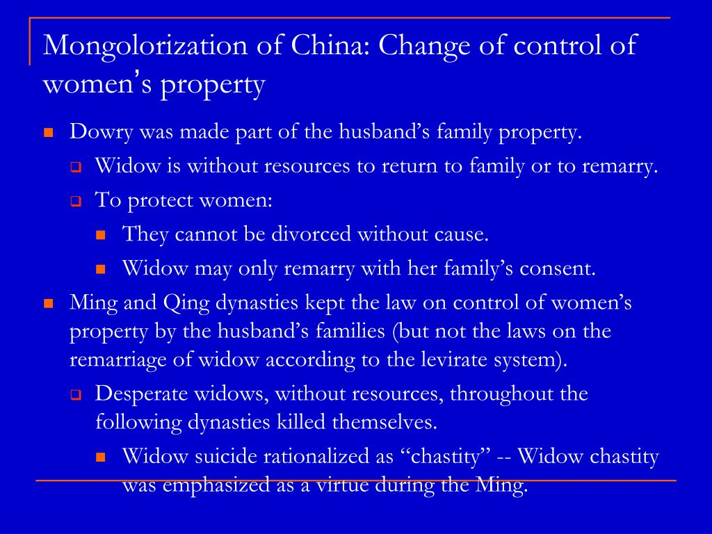 Mongolorization of China: Change of control of women