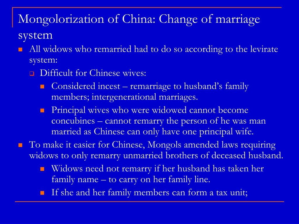 Mongolorization of China: Change of marriage system