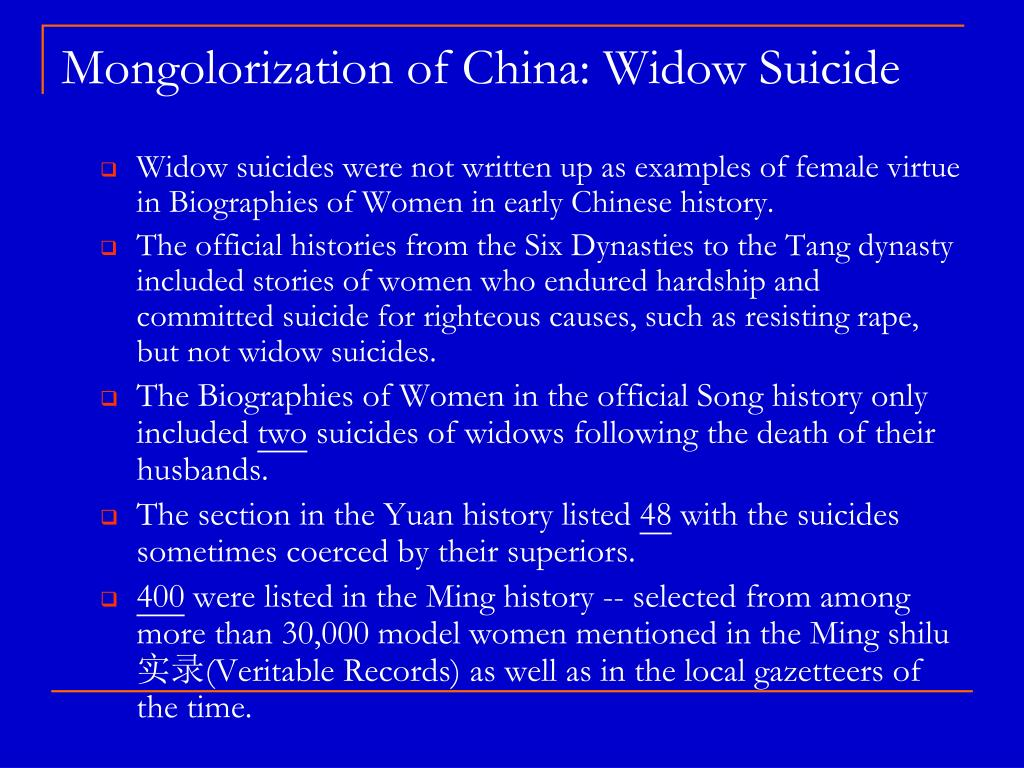 Mongolorization of China: Widow Suicide