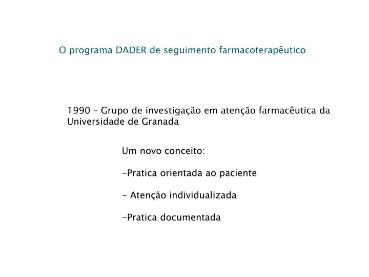O programa DADER de seguimento farmacoterapêutico