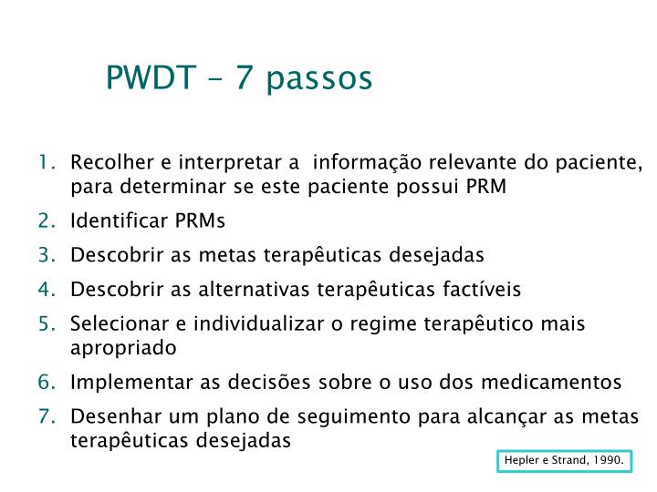 PWDT – 7 passos
