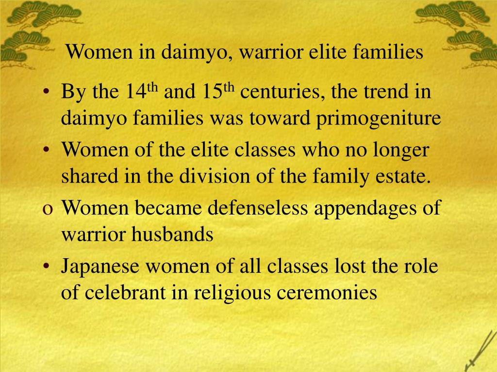 Women in daimyo, warrior elite families