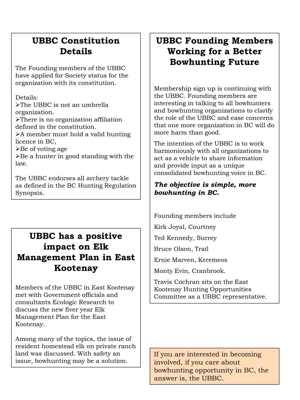 UBBC Constitution Details