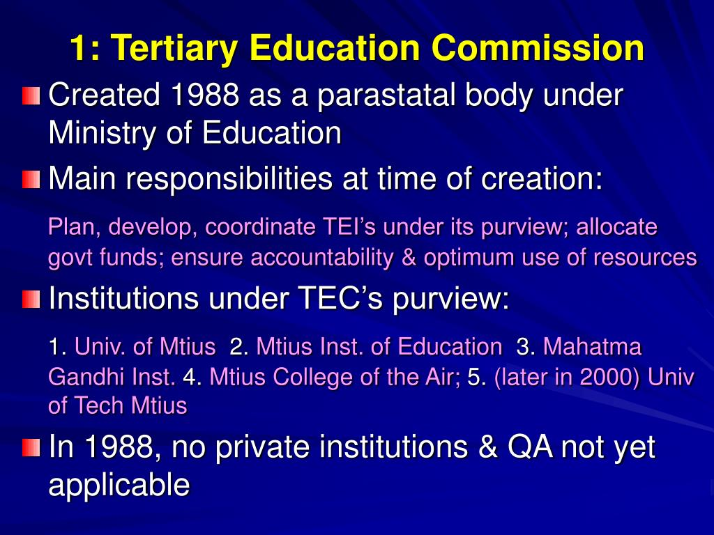 1: Tertiary Education Commission