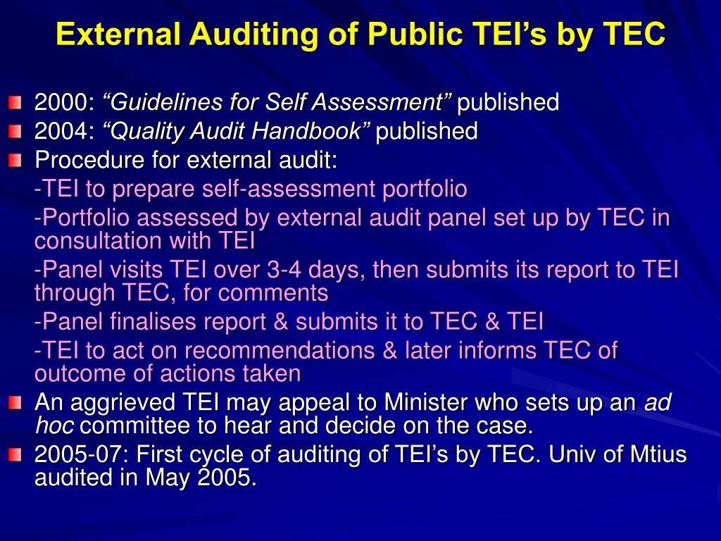 External Auditing of Public TEI's by TEC