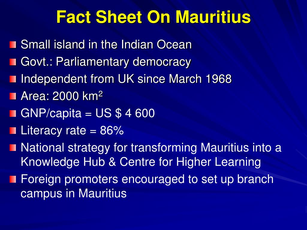 Fact Sheet On Mauritius