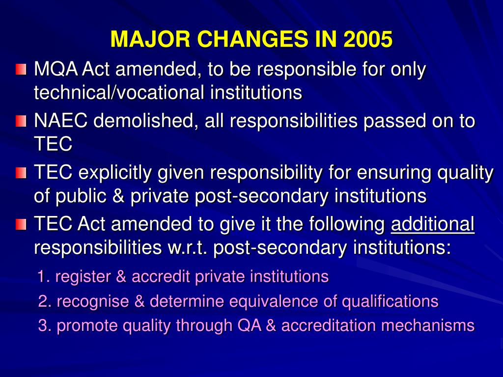 MAJOR CHANGES IN 2005