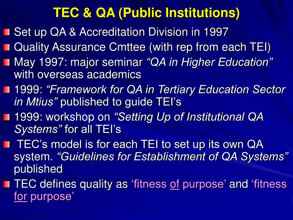 TEC & QA (Public Institutions)