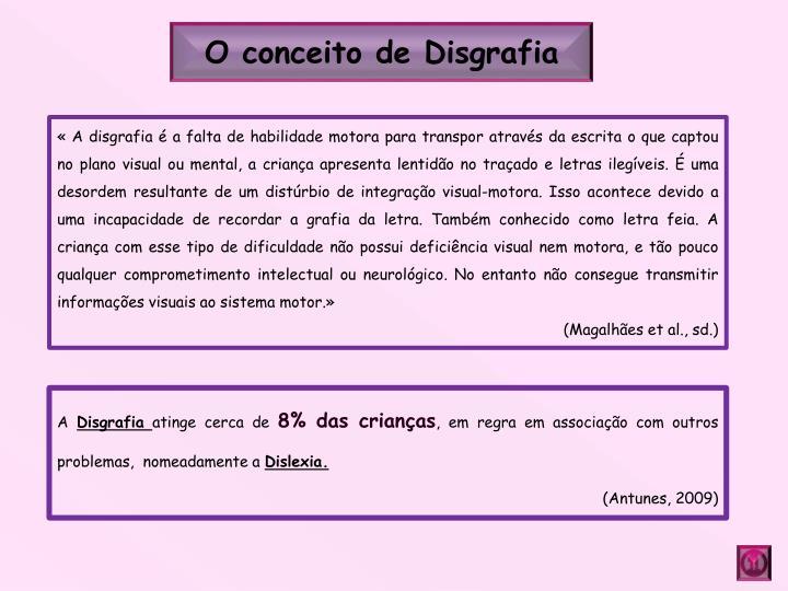 O conceito de Disgrafia