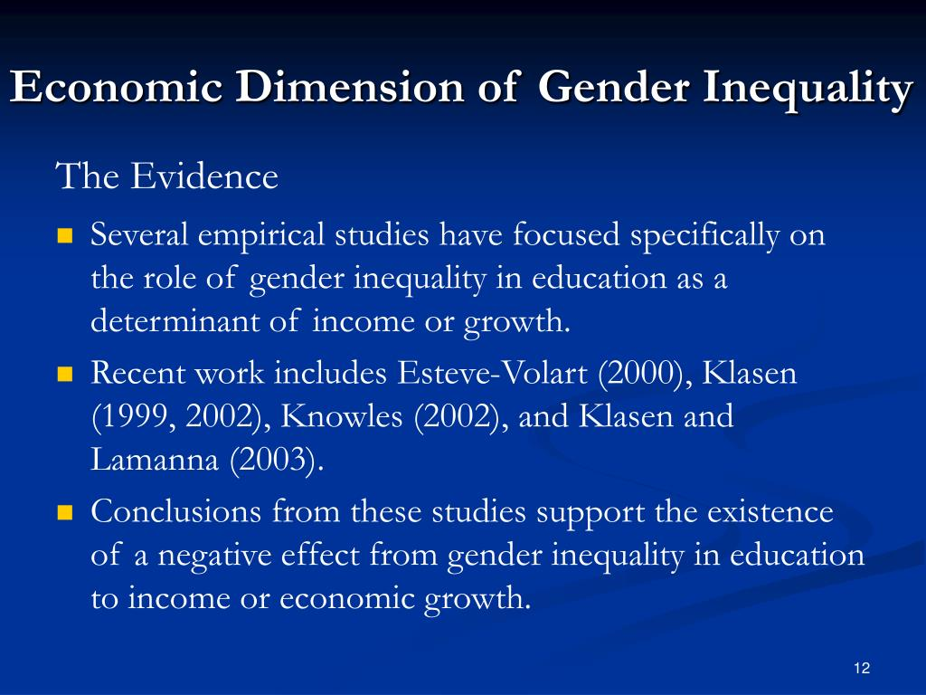 Economic Dimension of Gender Inequality