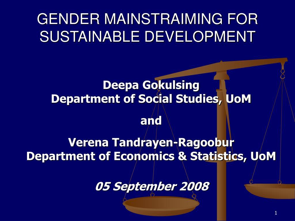 gender mainstraiming for sustainable development