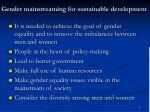gender mainstreaming for sustainable development