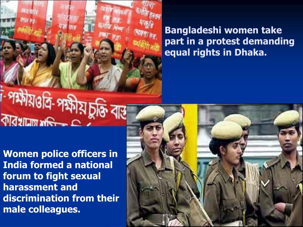 Bangladeshi women take part in a protest demanding equal rights in Dhaka.