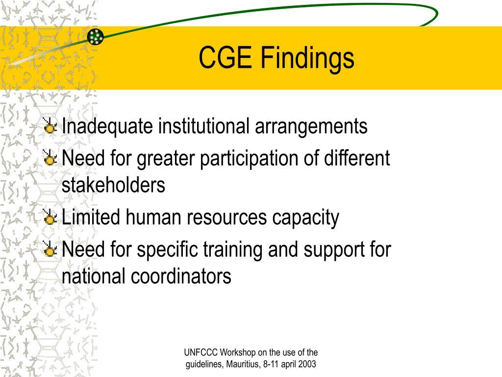 CGE Findings