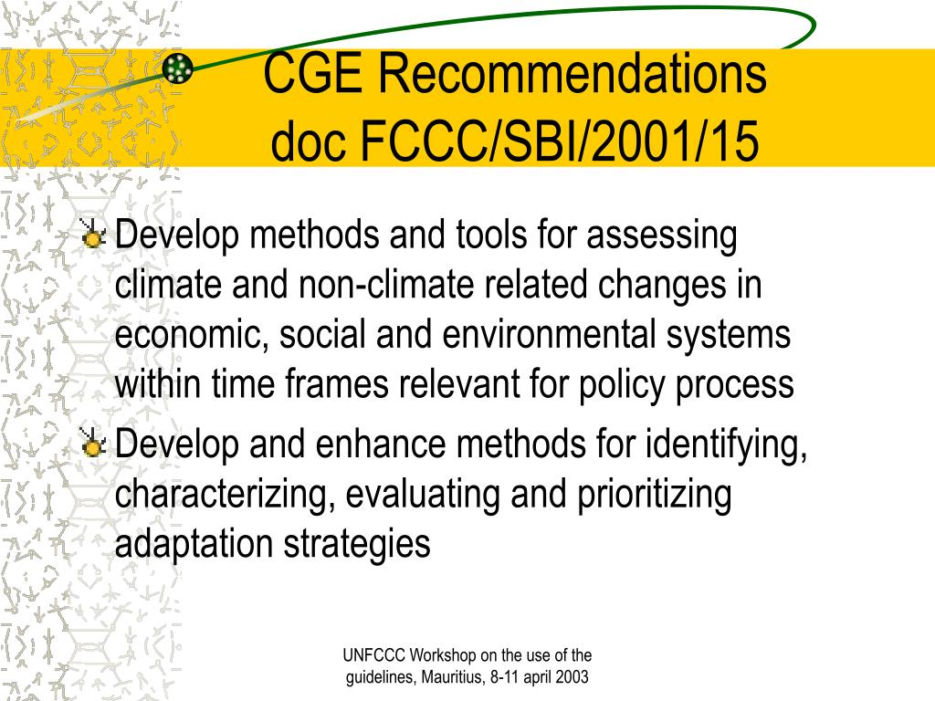 CGE Recommendations