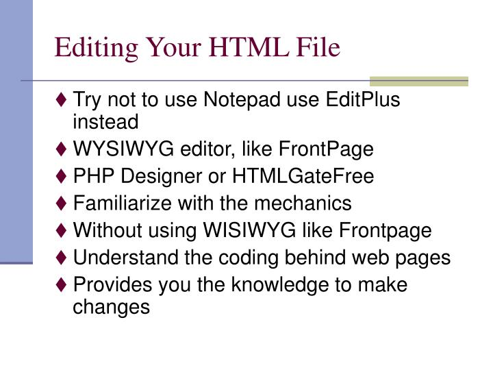 Editing your html file