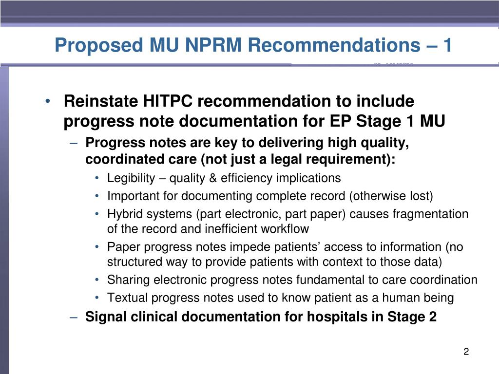 Proposed MU NPRM Recommendations – 1