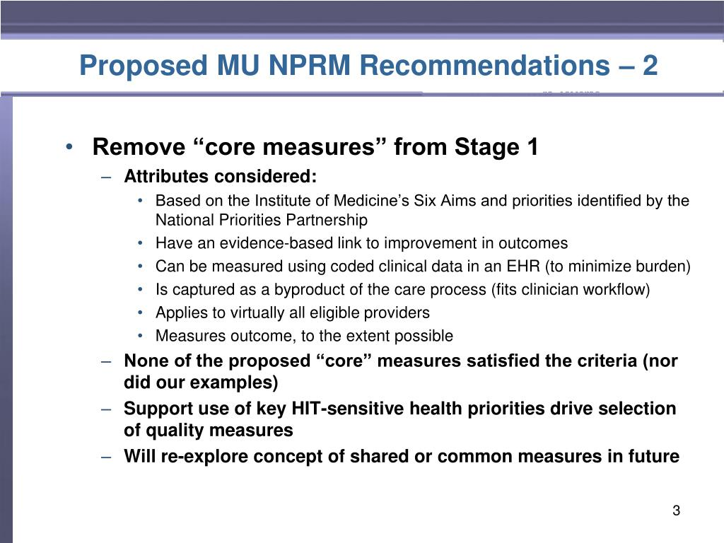 Proposed MU NPRM Recommendations – 2
