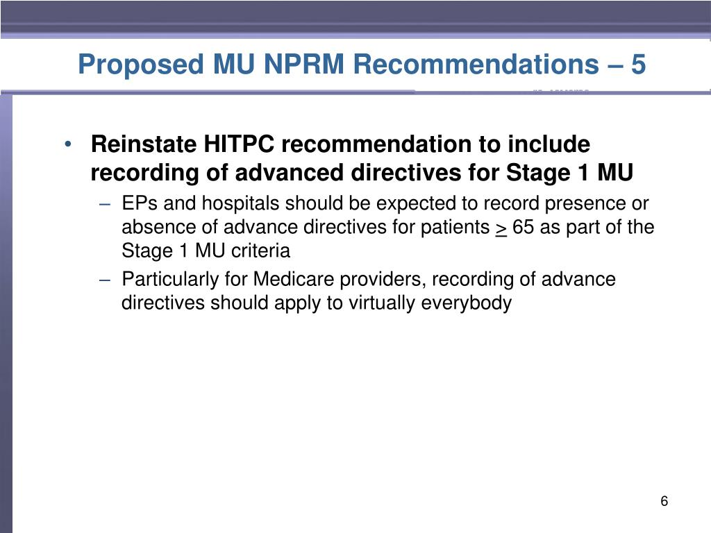 Proposed MU NPRM Recommendations – 5