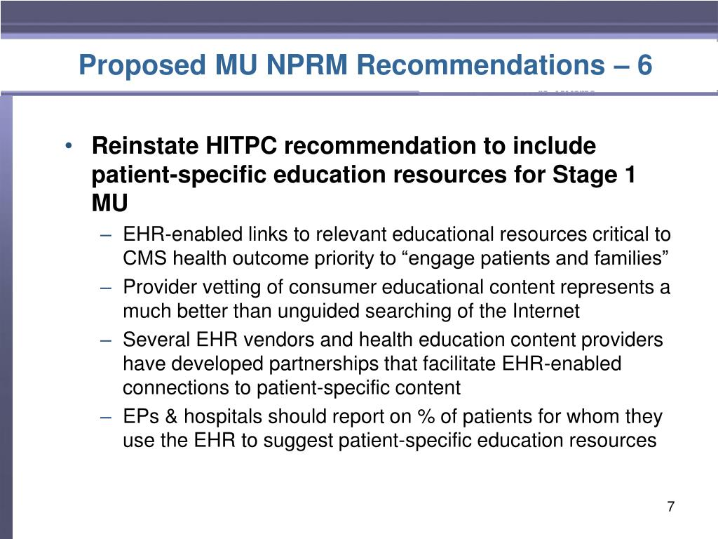 Proposed MU NPRM Recommendations – 6